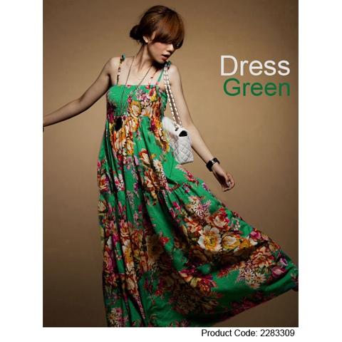 Ethnic-Colorful-Green-Printed-Elastic-Long-Cotton-Women-s-Sleeveless-Dresses-G-50051
